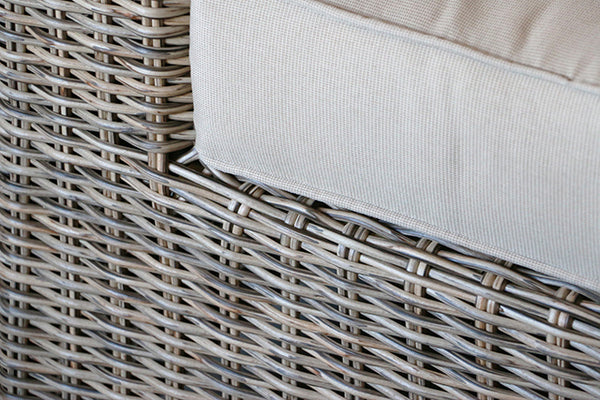 Natural Round Wicker With Beige Fabric