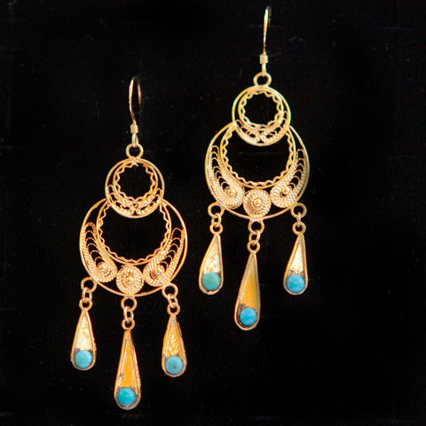 Double Circle Gold Plated Dangle with Turquoise Stone