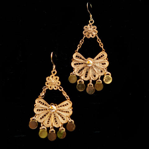 Gold Plated Double Flower Dangle