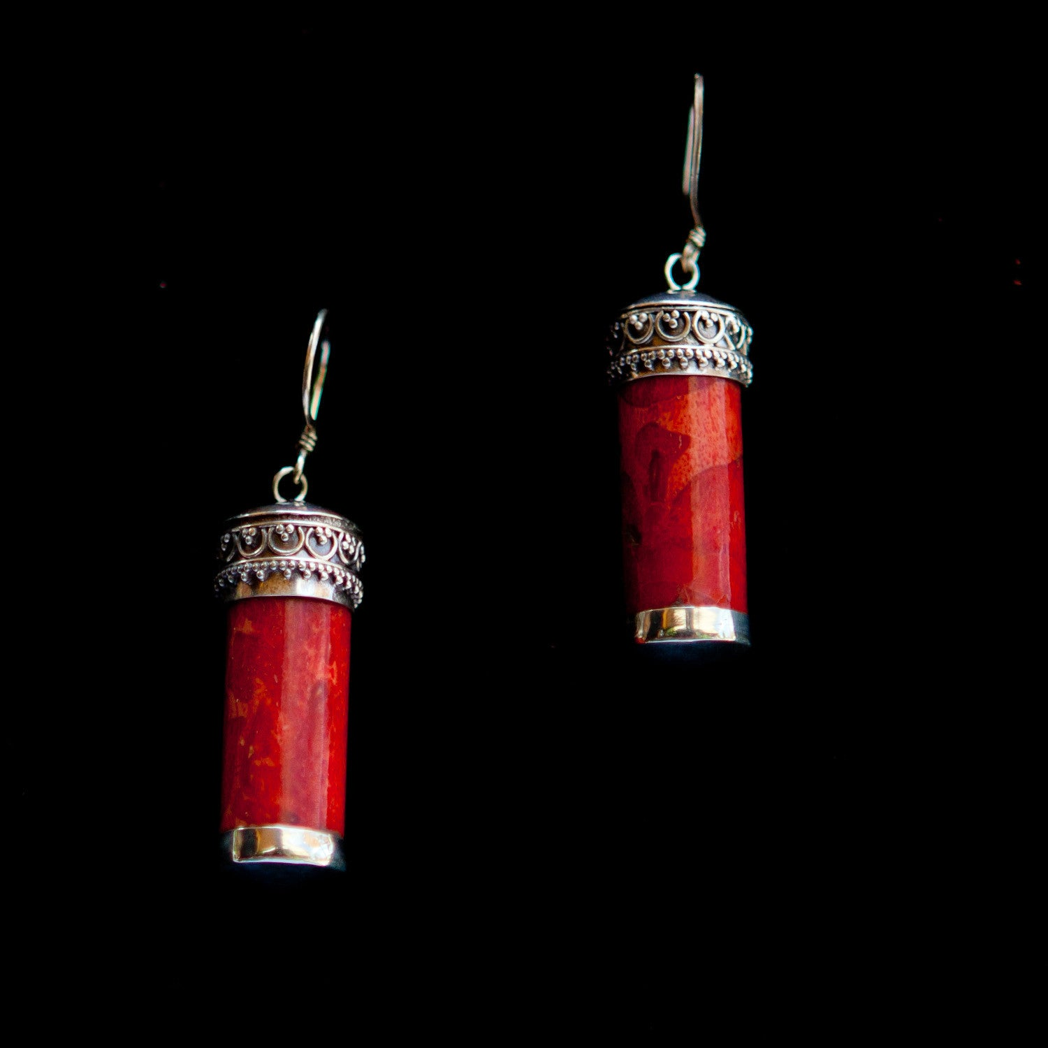 Silver Tube with Stone Dangle