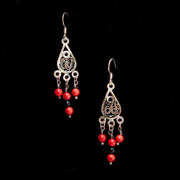 Ornate Red Stone Dangle