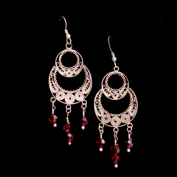 Double Circle with Red Stone Dangle