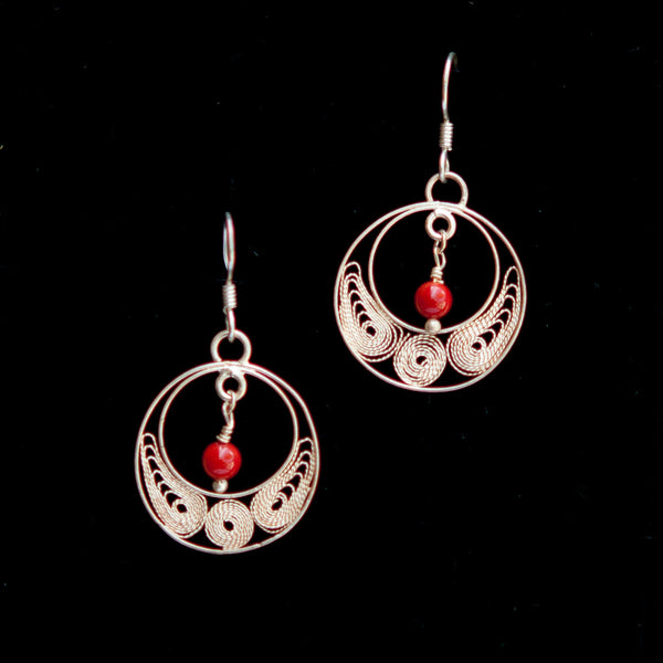 Circle with Red Stone Dangle