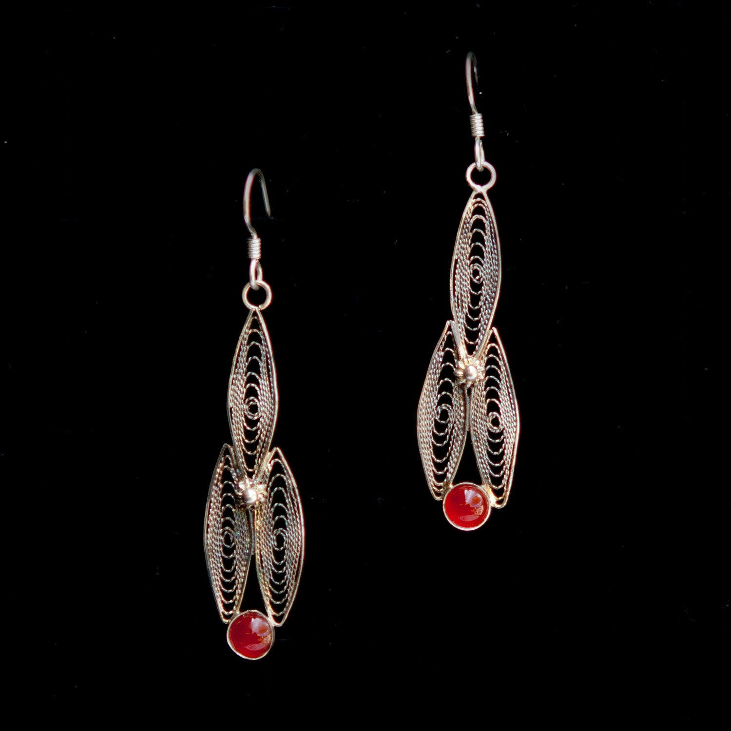 Double Oblong with Red Stone Dangle