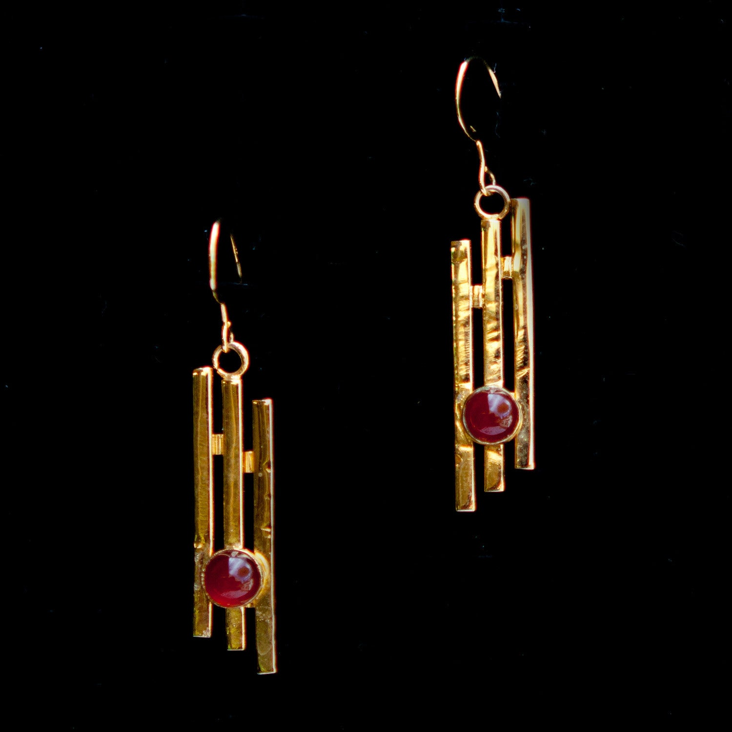 Gold Plated Bars with Red Stone Dangle