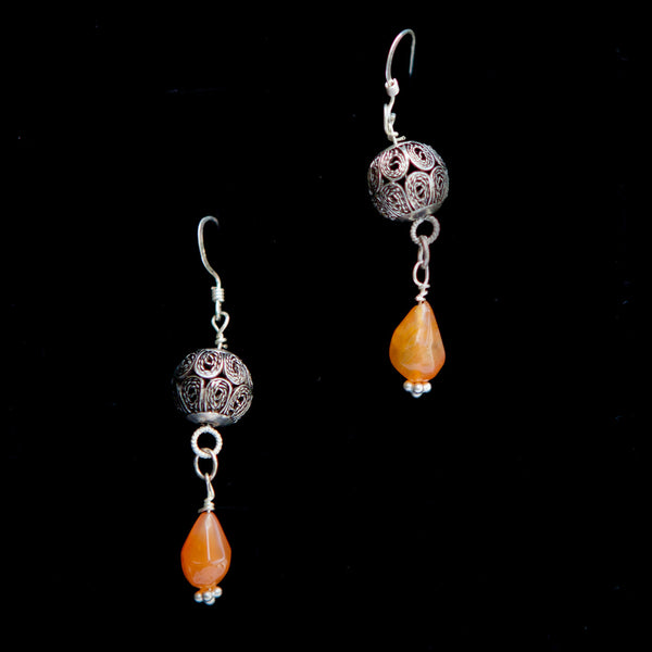 Ornate Ball with Orange Stone Dangle