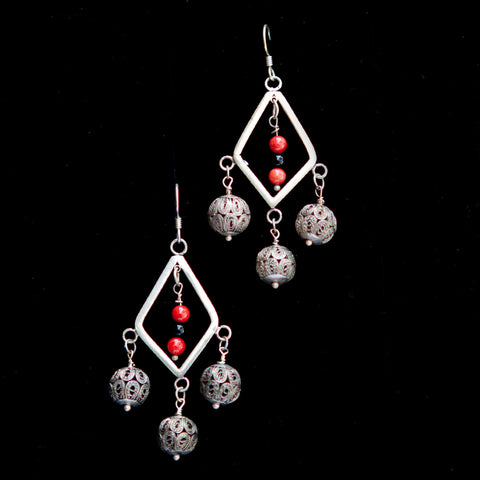 Diamond Dangle with Red Stone