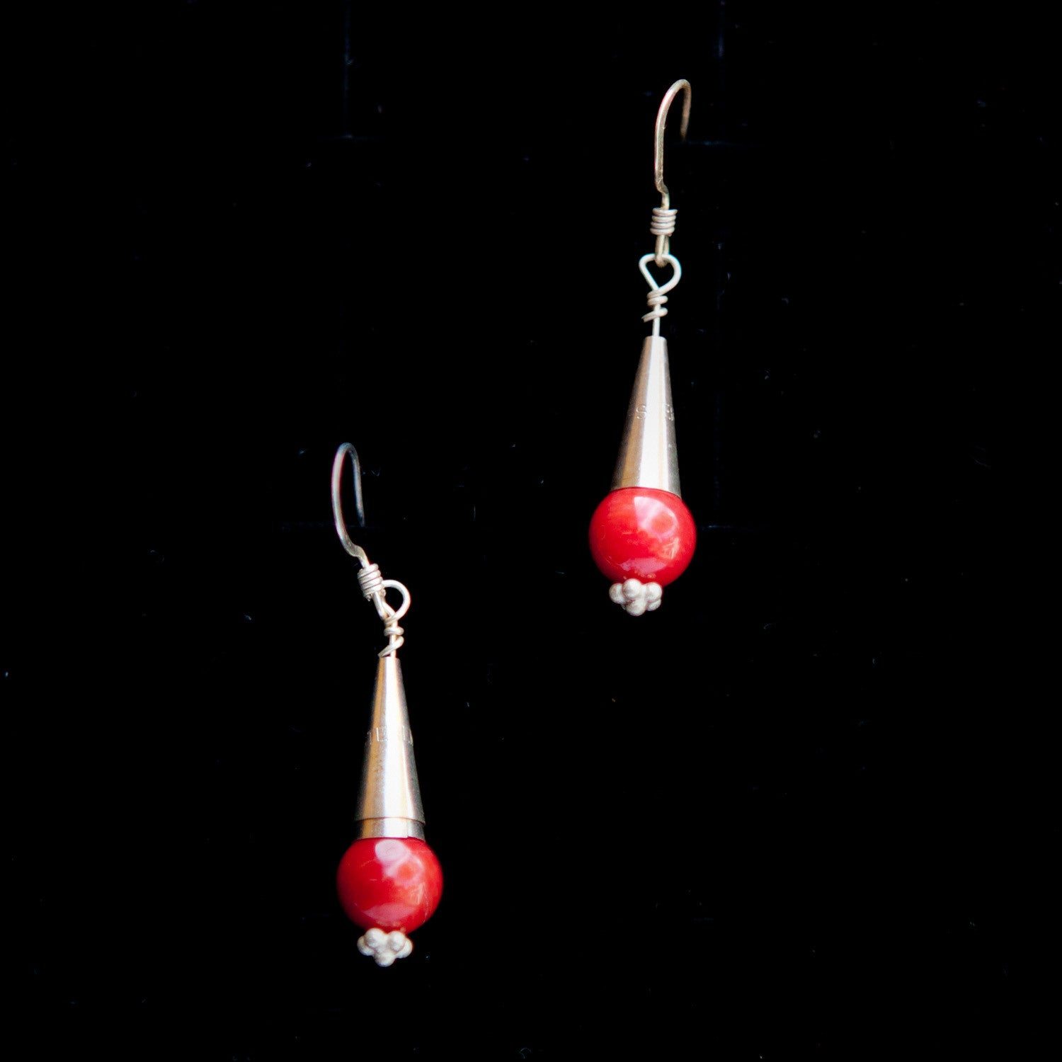 Tube Dangle with Red Stone