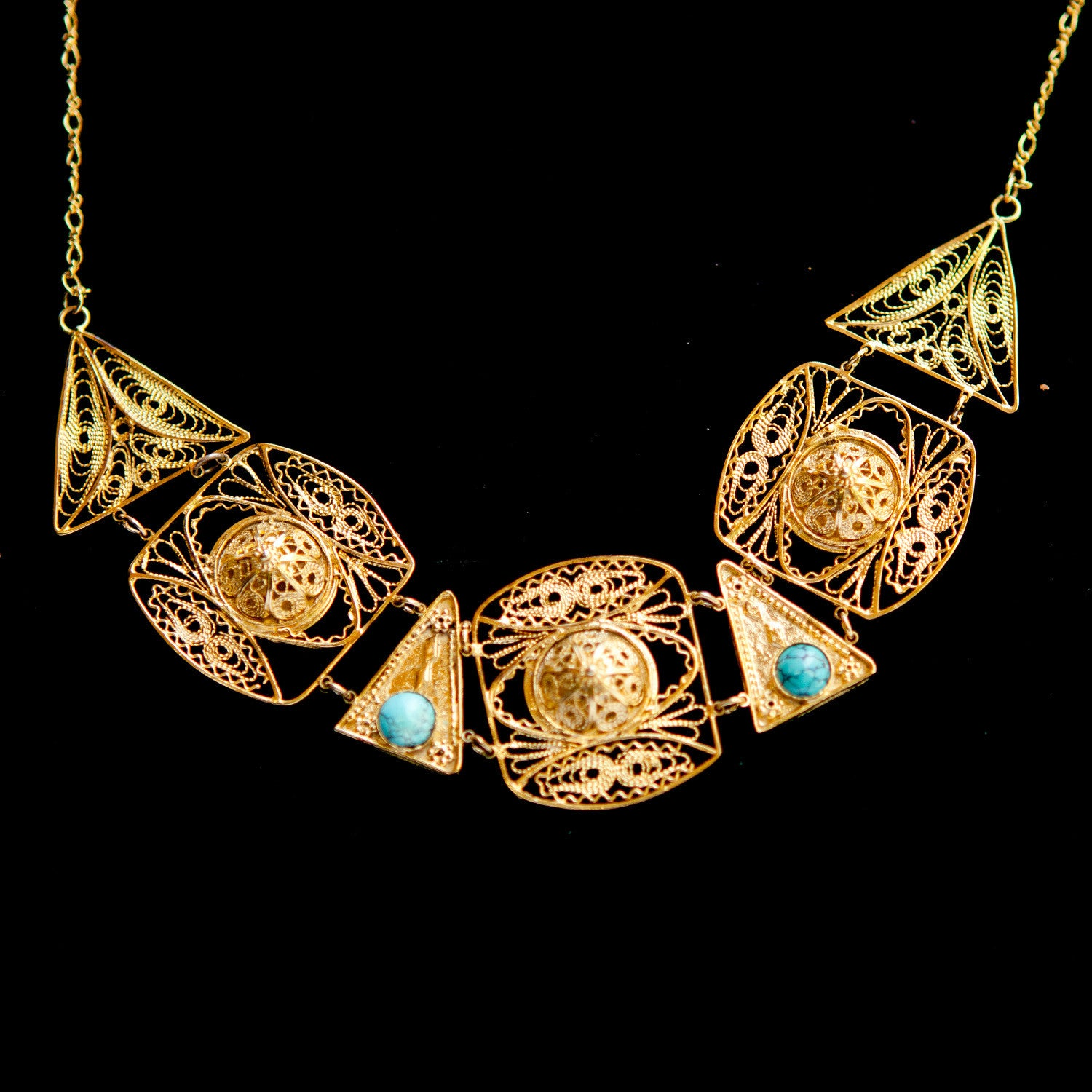 Multi Shape Gold Plated with Turquoise