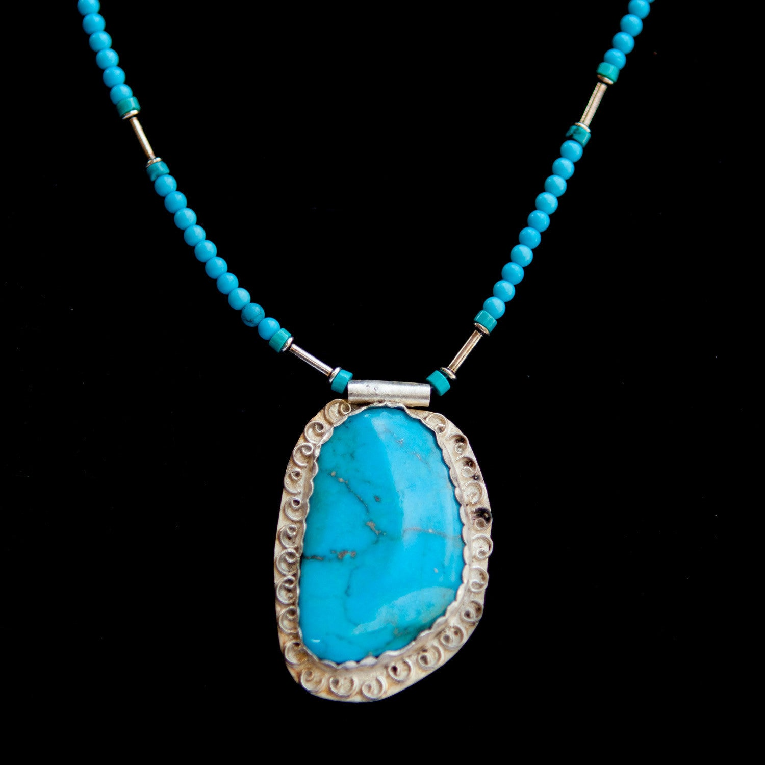 Turquoise Stone on Beaded Chain