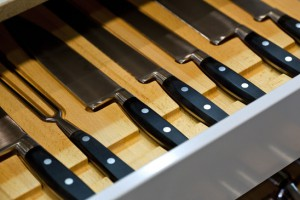 Knives in a kitchen drawer
