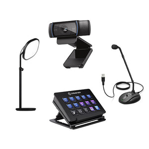 Improve your virtual meetings with adjustable lighting, HD webcams, USB mic's and a Stream Deck