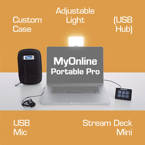 ESS rocks MyOnline Portable Pro bundle - Elgato Stream Deck plus custom plugins, Lume Cube LumePanel adjustable light and clip-on USB lapel mic to make your meetings better