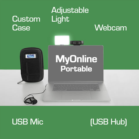 ESS MyOnline Portable bundle - Improve your virtual meetings with Logitech HD Pro webcam, LumeCube LumePanel adjustable light and clip-on USB Lapel mic