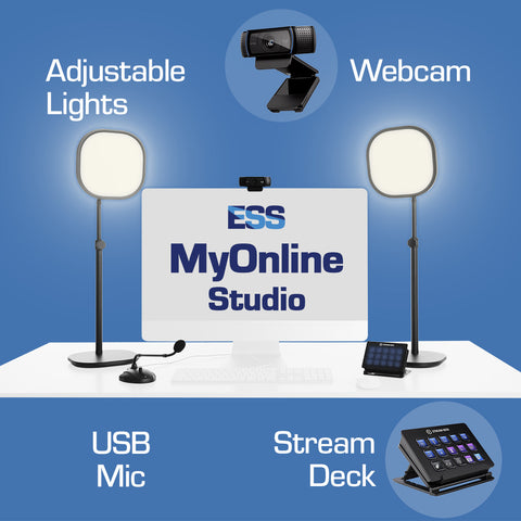 MyOnline Studio bundle set up around a computer. Adjustable lights, gooseneck USB mic, Logitech C920 Webcam, Elgato Stream Deck and a USB hub. Improve your virtual meetings and live streams!