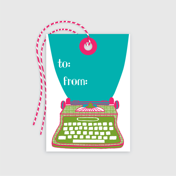 Typewriter Gift Tag 10 pack