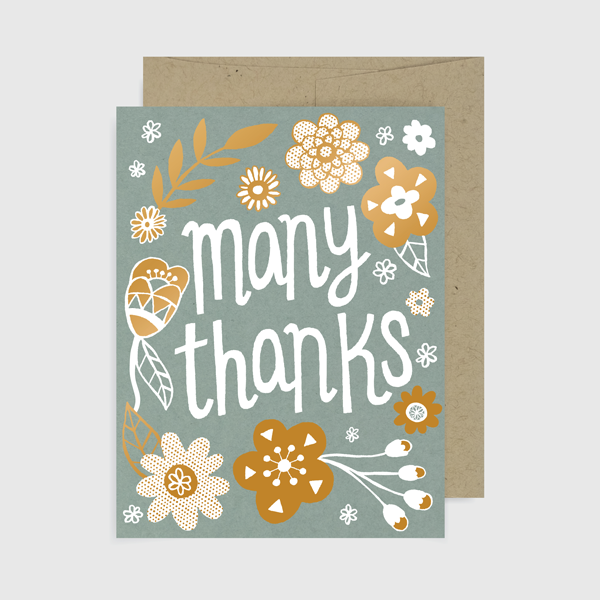 Many Thanks Gold Floral