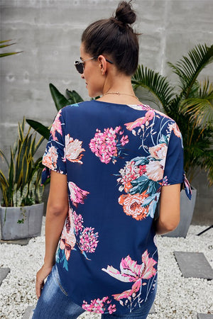 Floral Twist Top : Apricot or Blue