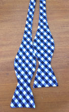 White and navy stripes handmade bow tie