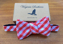 Red and White Stripe Handmade Cotton Bow Tie
