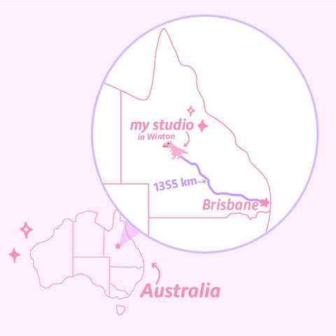 Strange Magic Shop location. A pink map showing Australia in the bottom left hand corner and a zoomed in section of Queensland in the top right hand corner. The location of Strange Magic Shop in Winton is shown 1355km away from Brisbane.