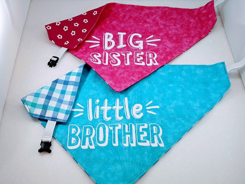 Big Sister and Little Brother Light Blue Check Reversible Bandana