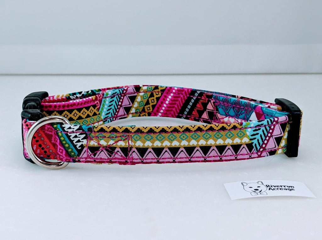 Quilted Fuchsia Dog Collar