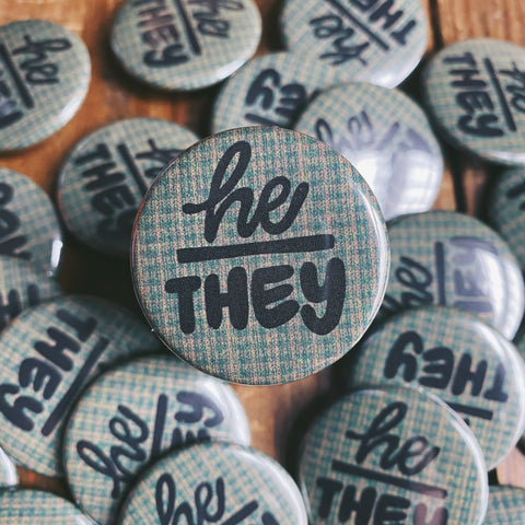 He/They Button Pin