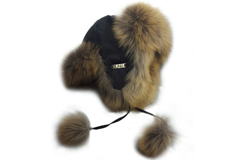 Fur Trapper Hat with Gold Label