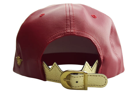 "Red ""CUPID"" Faux Leather Cap with Crown Closure and Side Cherub"
