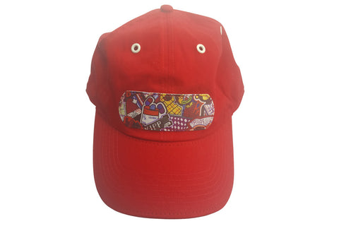 Red Alexander Leather Bottom Dad Cap
