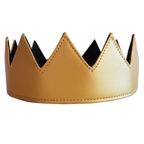 Gold Vegan Leather Crown Kings Crown Queens Crown