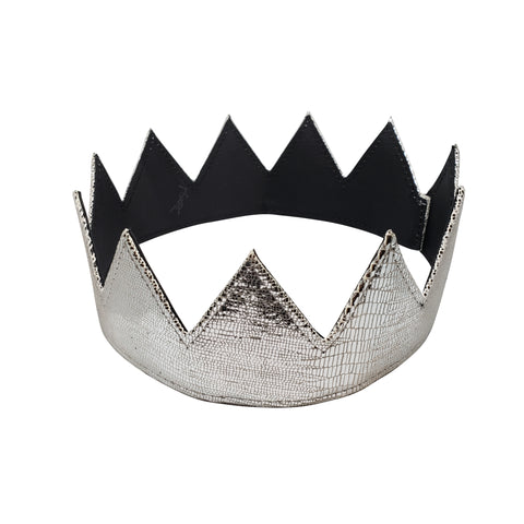 Silver Crocodile Leather Crown
