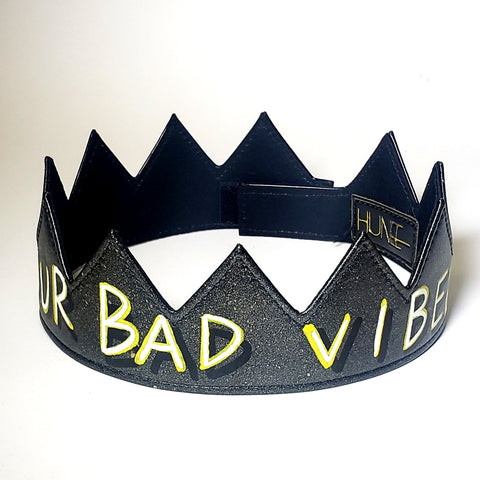 Fuck Your Bad Vibes leather crown