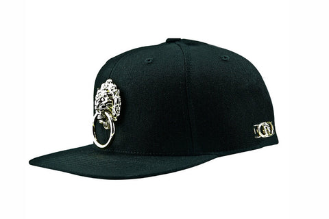 Black Large Metal Lion Snapback Hat