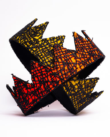 Orange and yellow abstract fabric crown