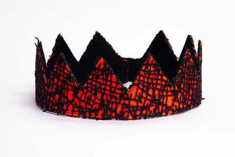 Orange and black abstract fabric crown