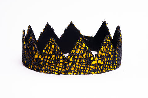yellow and black abstract fabric crown