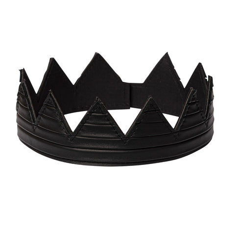 Black pleated leather crown kings crown queens crown