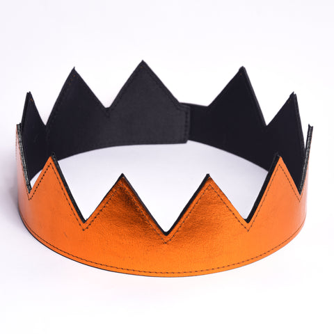 metallic orange leather crown