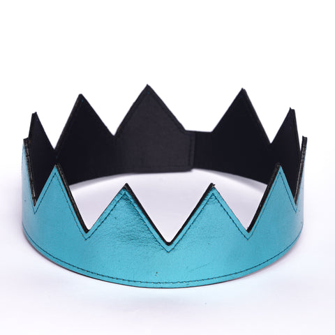 metallic blue leather crown