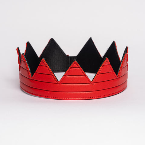 Red pleated leather crown kings crown queens crown