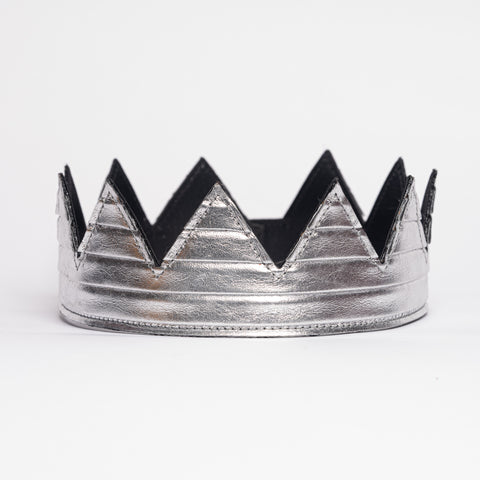 Silver pleated leather crown kings crown queens crown