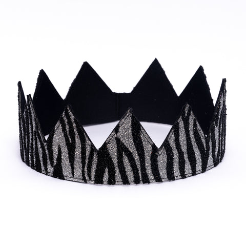 Black and Silver Glitter Zebra Crown