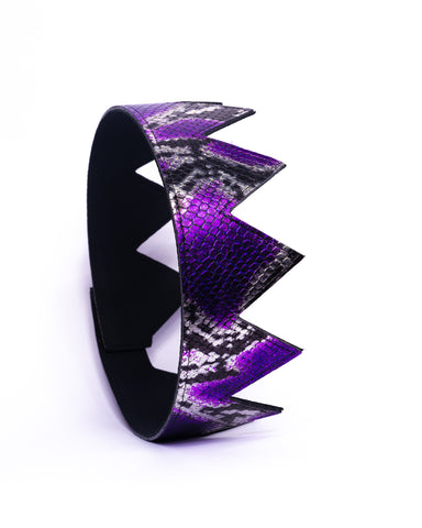 Purple and Silver Snakeskin Leather Crown