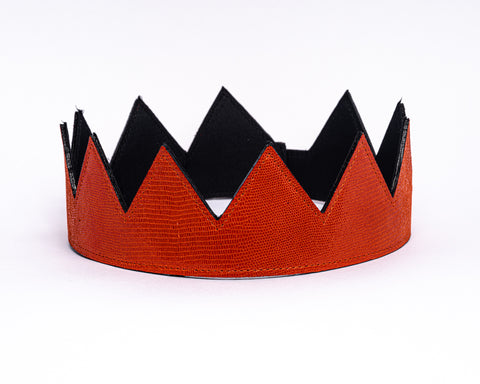 Orange Crocodile Skin Leather Crown