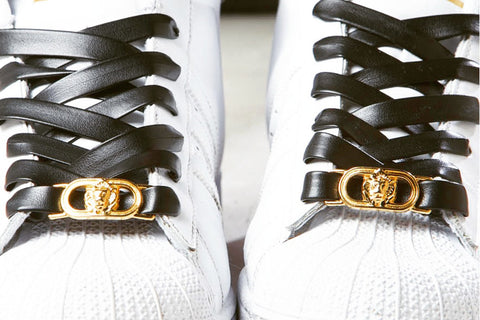 Black Leather Laces with Gold Lion Lace Lock