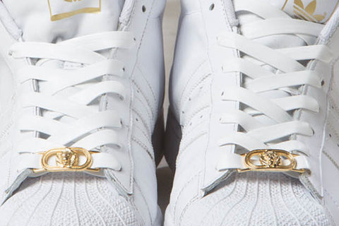 White Leather Laces with Gold Lion Lace Lock