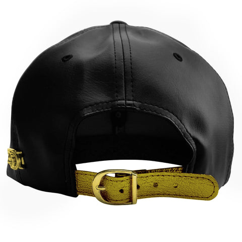 Black Faux Leather Cap with Large Metal Lion and Spikes