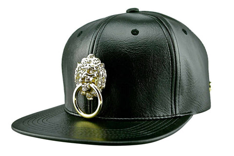 Black Faux Leather Cap with Large Metal Lion